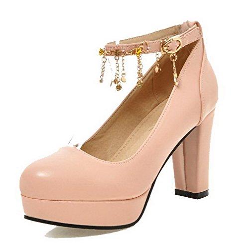AllhqFashion Femme Boucle Rond à Talon Haut Pu Cuir Mosaïque Chaussures Légeres Rose