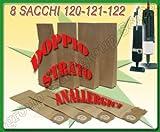 8 SACCHI SACCHETTI FILTRO DOPPIO STRATO CARTA PER FOLLETTO VORWERK 120 121 122