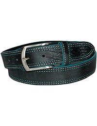 ITALOITALY - Cintura in Cuoio Graffiato Effetto Usurato, Nera, 3,5cm, Uomo, Donna, Vera Pelle, Artigianale, Made in Italy, Accorciabile