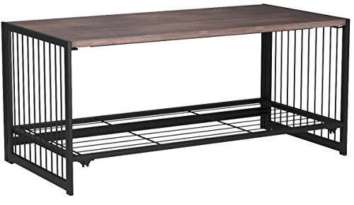 Coavas Table Basse Pliante de Salon Table canapé Table rectangulaire Style Industriel Moderne Rustique Noir métal Bois Marron
