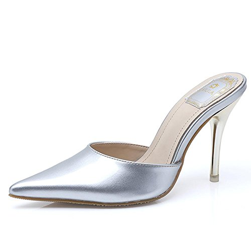 L@YC® Frauen Sommer Sandalen Lackleder Spitz Hausschuhe Damen Fein Mit Roten High Heel Tanzkleid Schuhe Silver