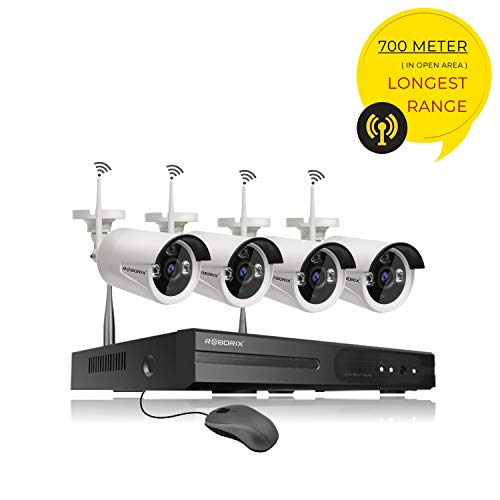 ROBORIX 4 Camera 2.0 Megapixel Full HD 1080P CCTV Wireless WiFi IP Security Camera kit 4 Channel WiFi NVR