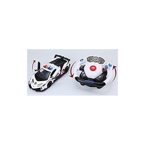 Top Race Control Remoto RC Police Coche Tr-911, 4D Movimiento Gravedad y Volante Control, Escala 1:12, 2.4Ghz, Con Luces, Sirenas, Puertas Alimentadas, Juguetes, Coches de Juguete