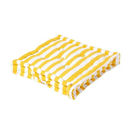 es Sitzkissen Stuhlkissen Sitzerhöhung Stuhlauflage Stripes, gelb, 40 x 40 cm, 100% reine Baumwolle mit Polyester Füllung ()