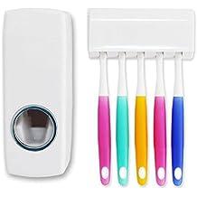 AOLVO - Dispensador automático de Pasta de Dientes y Soporte para Cepillo de Dientes - Exprimidor
