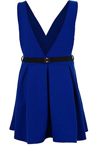 SAPHIR Femmes Ceinture Dorée Patineuse femme célébrité Keegan V Col Pigeonnant Robe Évasée 8-26 Bleu roi