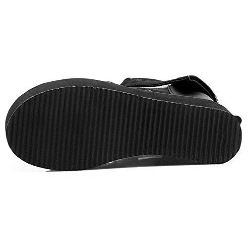 Coolcept Femmes Compenses Sandales Zipper Black-1