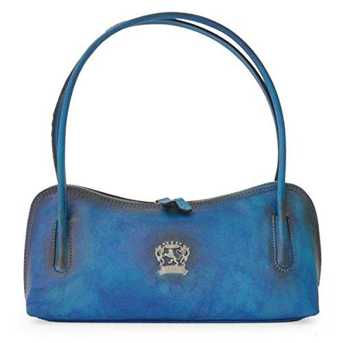 Pratesi Sansepolcro borsetta in vera pelle - B460 Bruce (Nero) Blu elettrico
