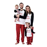 Family Holiday Pyjamas Matching Set Santa Printed Family Clothes Sets Pajama Set Kid Top and Pants Outfit Set Baby Romper Sleepwear Red