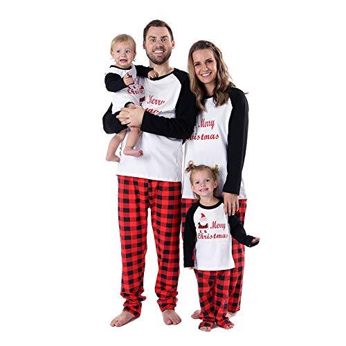 Baywell pigiami per tutta la famiglia,pigiama natale famiglia due pezzi uomo donna bambini tops manica lunga+pantaloni pajamas set da notte sleepwear (neonato, l/12-18m)