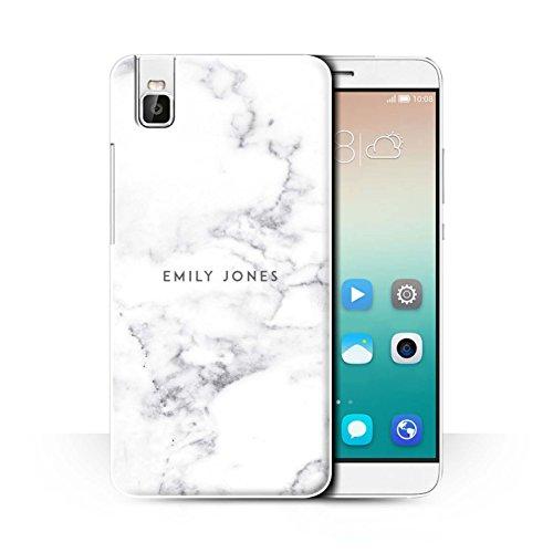 Personalisiert Personalisiert Marmor Hülle für Huawei Honor 7i/ShotX/Perle Weißen Stempel Design/Initiale/Name/Text Schutzhülle/Case/Etui