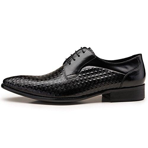 GRRONG Chaussures En Cuir Pour Hommes Banquet Tenue Daffaires Noir Et Brun Black