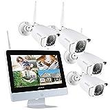 ANNKE 4 CH 1080P FHD - Sistema de videovigilancia NVR inalámbrico con Pantalla LCD de 12 Pulgadas, con 4 cámaras 1080P IP Interiores y Exteriores, ahorrador de Pantalla automático, sin Disco Duro