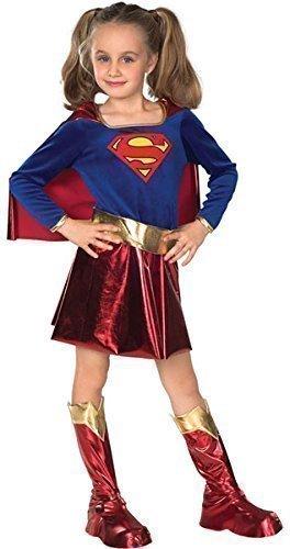 Deluxe Mädchen Supergirl Powerfrau Superheld Büchertag Woche Halloween Kostüm Kleid Outfit Alter 3-10 jahre - Blau/Rot, 5-7 Years (Mädchen Supergirl Kostüm)