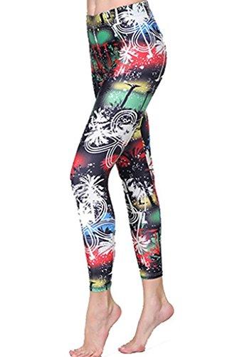 SANANG Femmes Protection solaire Collants de nattes imprimés Leggings à pleine longueur Plongée Pantalons de yoga de surf C