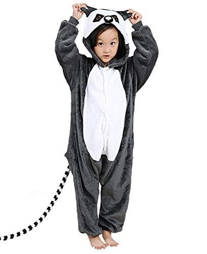 DATO Kinder Pyjamas Tier Lemur Overall Flanell Cosplay Kostüm Kigurumi Jumpsuit für Mädchen und Jungen Hohe 90-148 ()
