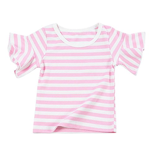 Vovotrade Appena nato sveglio il bambino scherza vestiti delle ragazze del chiarore Sleeve Striped Top (70/1età, Rosa)