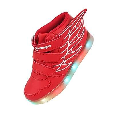 LED Chaussures,Angin-Tech Ange Série Led Chaussure 7 Couleurs USB Rechargeable Clignotant Chaussures Basket Lumineuse de Garçon et Fille pour Noël Halloween avec CE Certificat