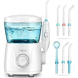 Elektrische Munddusche Interdentalreiniger, iTeknic Oral Irrigator Zahnpflege Düsenreinigung mit 10 Druckeinstellungen 600ml Wassertank 7 verschiedene Funktionsdüsen Ideal für Ganze Familie