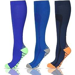 Calcetines de compresión para hombre y mujer (20 – 25 mmHg) – 3 pares de calcetines de compresión graduados para correr, crossfit, enfermera, vuelo y maternidad embarazo, espinilleras
