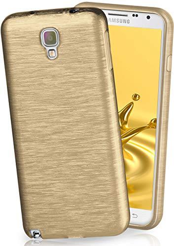 moex® Stylische Brushed Aluminium-Optik und starker Grip | Ultra dünne Silikonhülle passend für Samsung Galaxy Note 3 Neo in Gold