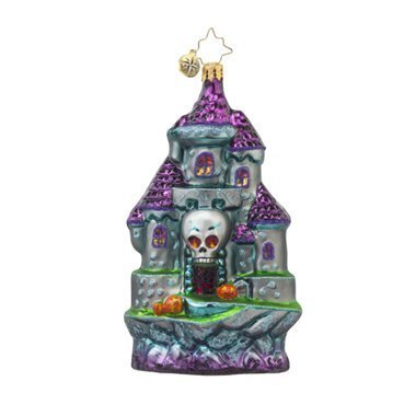 RADKO SPOOKY ENTRANCE Skull Haunted Castle Glass Ornament Halloween by Christopher Radko