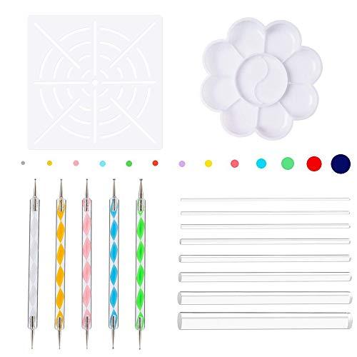 alerei Werkzeuge Set, Mandala Rock Malerei Werkzeuge Dot Punktierung Werkzeug Paint Tray, Transparent Acryl Stick, Punkt Bohrwerkzeug, Plus Schablone für Malerei Rock, Färbung ()