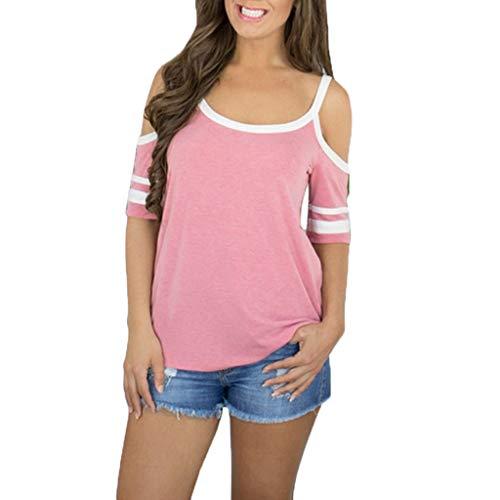 LEXUPE Mode Damen Riemchen Schulterfrei Gestreiftes Kurzarm Kausal Top Shirt Bluse T-Shirt(Rosa,Medium)