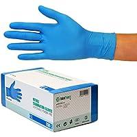 Nitrilhandschuhe 200 Stück Box (L, Nitril blau) Einweghandschuhe, Einmalhandschuhe, Untersuchungshandschuhe, Nitril Handschuhe, puderfrei, ohne Latex, unsteril, latexfrei, disposible gloves, blue, Lar