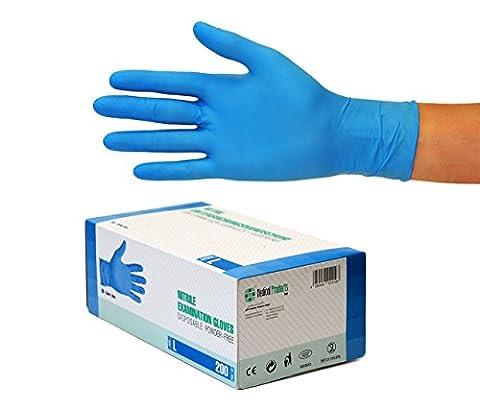 Nitrilhandschuhe 200 Stück Box (L, Nitril blau) Einweghandschuhe, Einmalhandschuhe, Untersuchungshandschuhe, Nitril Handschuhe, puderfrei, ohne Latex, unsteril, latexfrei, disposible gloves, blue, Large