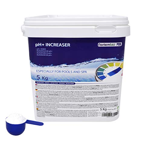 NortemBio Pool pH+ Plus 5 Kg, Elevateur Organique du pH pour Piscine et Spa, Améliore la Qualité de l'eau, Correcteur pH, Bénéfique pour la Santé. Produit CE.