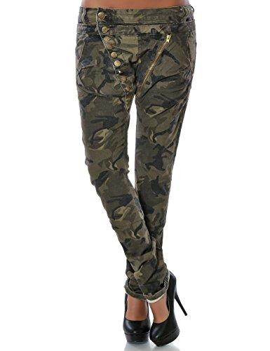 Damen Boyfriend Jeans Hose Reißverschluss Knopfleiste (weitere Farben) No 14145, Farbe:Khaki;Größe:36 / S (Herren Rise Khaki Low)