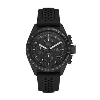 Fossil CH2703 - Reloj analógico de cuarzo para hombre con correa de silicona, color negro