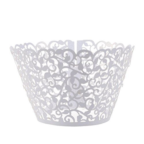 joyliveCY 50pcs Pearly Papier Vine Spitze Cup Cake Cupcake Wrappers Turm Cake Decoration Supplies Weiß