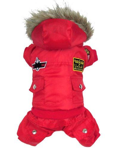 smalllee_lucky_store US Air Force Pilot Fleece-Futter Overall Kleine Hunde Kostüme Rot XL
