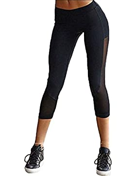 Fliegend Donna 3/4 Leggings Vita Alta Pantaloni da Yoga Maglia Pantaloni Sportivi Push Up Collant Elastici Leggins