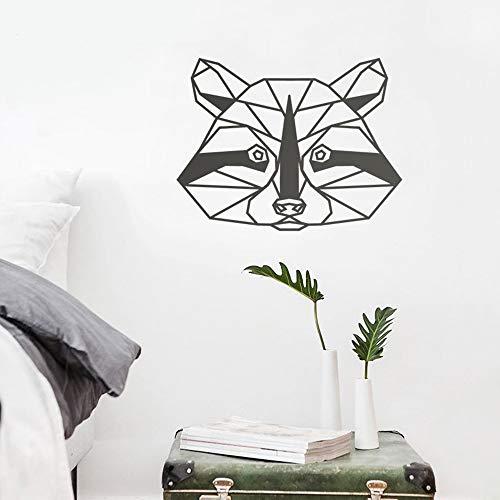 guijiumai Geometrische Waschbär Vinyl Wandkunst Aufkleber Schlafzimmer Moderne Nordic Tier Decals Dekoration Kunst Wandtattoo Wasserdicht weiß 74X57 cm (Mitsubishi Decal Kit)