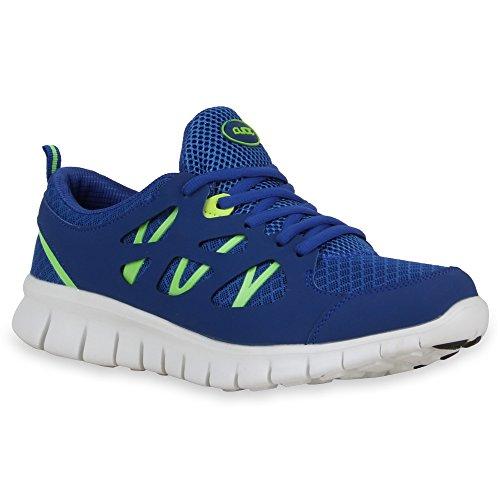 Herren Laufschuhe Sneakers Runners Sportschuhe Lack Blau Neongrün Bexhill
