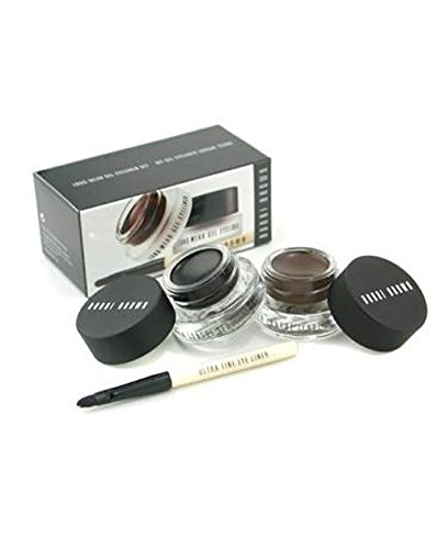 Long Wear Gel Eyeliner Duo: 2x Gel Eyeliner 3g (Black Ink Sepia Ink) + Mini Ultra Fine Eye Liner Brush 3pcs