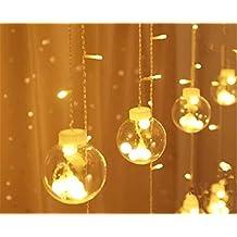 DulceCasa 3m x 0.55 -0.8- 1m Grande Bola 8cm Gotitas Cristal Guirnaldas Bombillas Lámpara LED decorativo Impermeable Fiesta Navidad Boda Decoración Árbol Cortina Luminosas Hadas luz Inicio Partido -Blanco Caliente