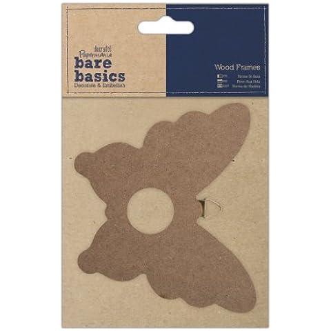 Papermania Bare Basics-Cornice per foto in legno, a forma di farfalla