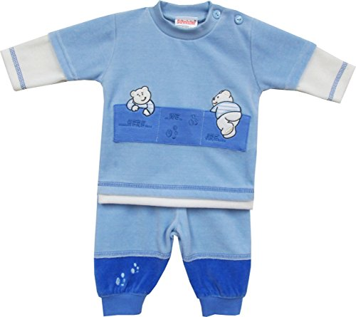 Schnizler Unisex Baby Jogginganzug Nickianzug Bärchen, Gr. 80, Blau (original 900)