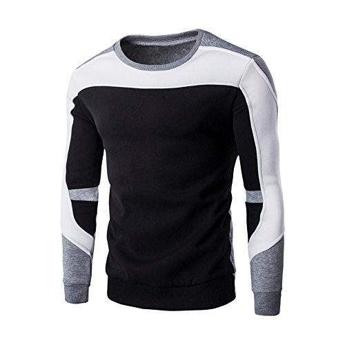 Yvelands Herren Langarm T-Shirt Top Blouse Patchwork Hoodie -