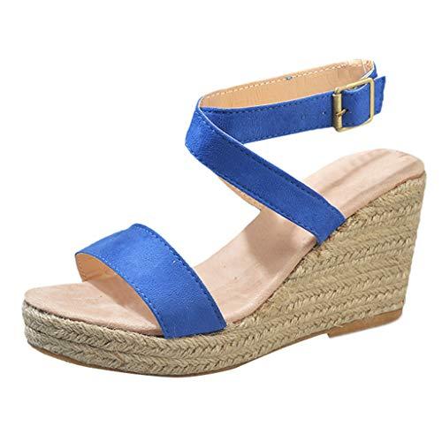 Damen Sandalen Sommer Ttlove Open Toe Wedges Thick Bottom SchnüR-Strandschuhe FüR Frauen Roman Sandals Freizeitschuhe(Blau,35) Leopard Flip Flop Thongs Sandals