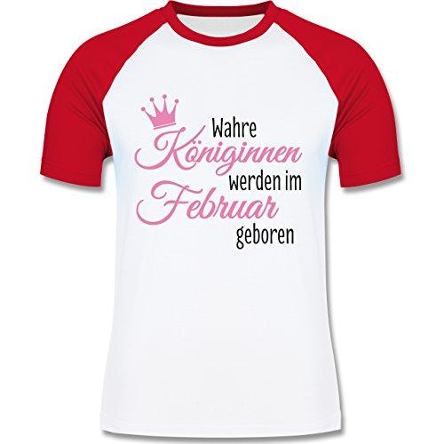 Geburtstag - Wahre Königinnen werden im Februar geboren - zweifarbiges Baseballshirt für Männer Weiß/Rot