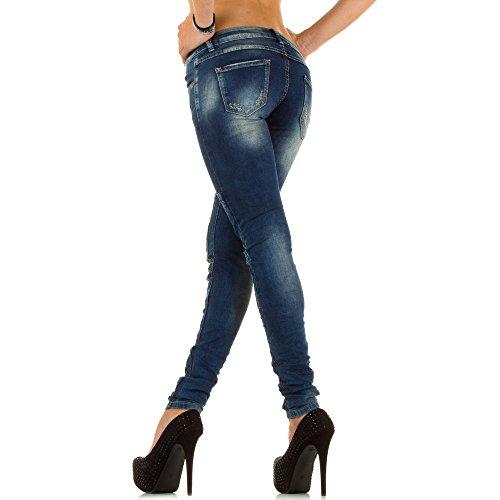 Damen Jeans Hose, Destroyed Straight Fit Nr.5 – Blau