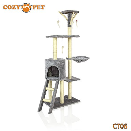 Cozy Pet Deluxe Multi Level Cat Tree Scratcher Activity Centre Scratching Post Toys with Heavy Duty Sisal Cat Trees in Grey L CT06-Grey.