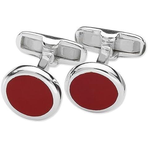 Da uomo Rotondo Gemelli In Smalto Rosso, in argento Sterling 925, design classico stile Gemelli–fornito in scatola regalo