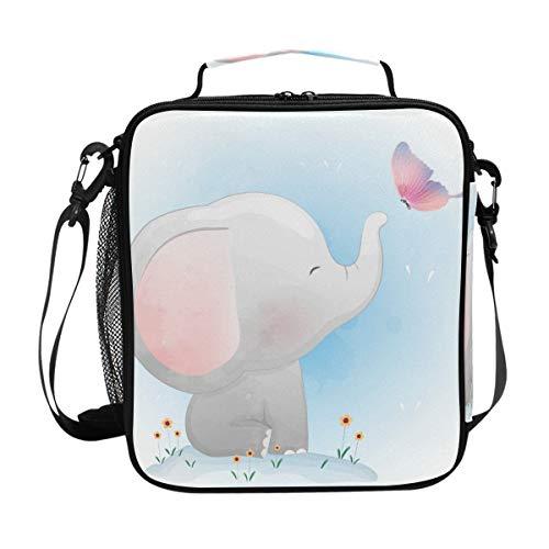 Bolsa de almuerzo Elefante aislado que juega con mariposas Bolsa de asas para el almuerzo Caja grande para termos con correa para el hombro para adultos y niños