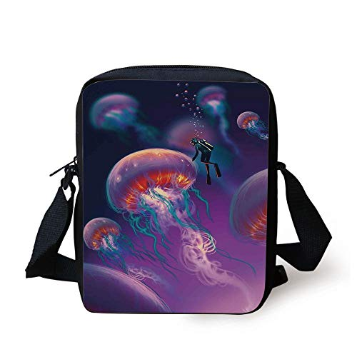 76c7ee729cd2 Fantasy Art House Decor,Diver with Giant Jellyfish Magical Underwater World  Artisan Image,Purple Blue Print Kids Crossbody Messenger Bag Purse
